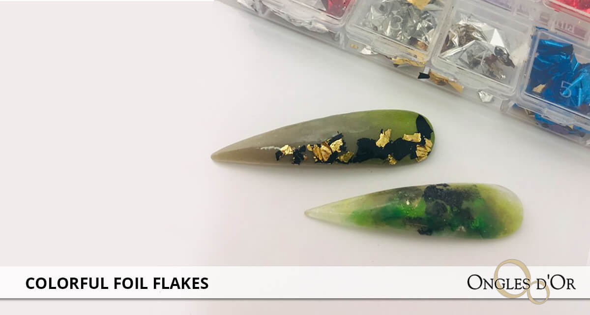 How to apply colorful foil flakes