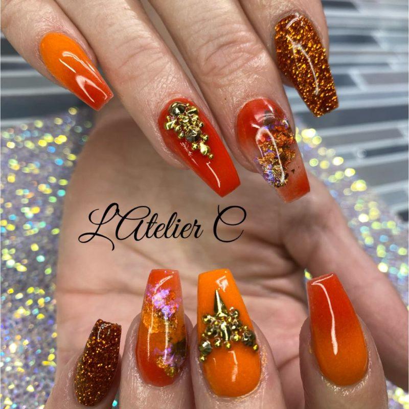 Atelier C orange nails with Oh Blush powders