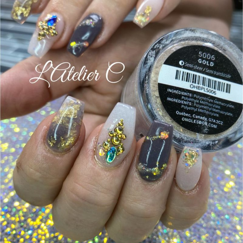 Atelier C brown and white nail art with Oh Blush powders