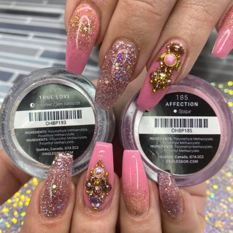 Atelier C pink nails with Oh Blush powders