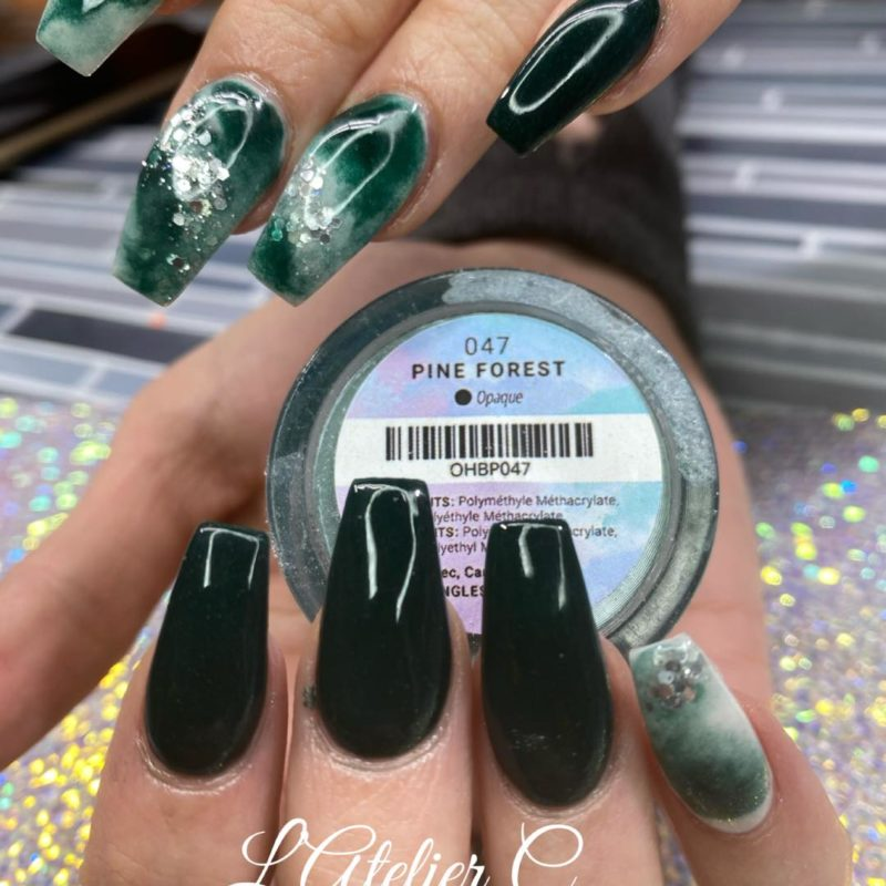 Atelier C green nail with Oh Blush powders