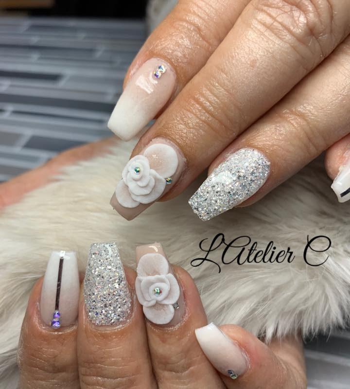 Atelier C white nail art with Oh Blush powders