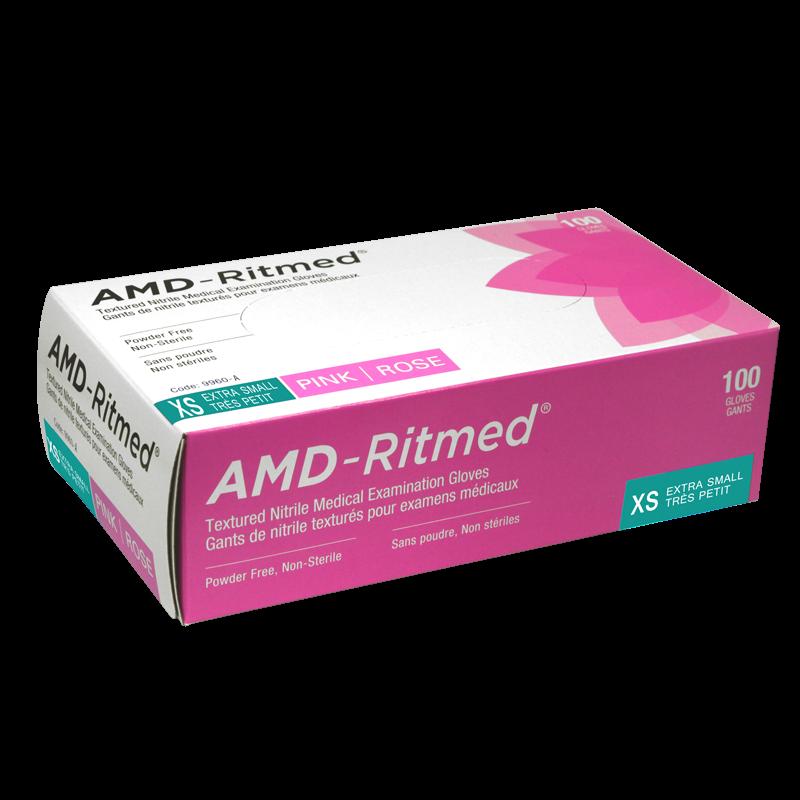 Gants Nitrile AMD-Ritmed Rose Sans Poudre XSmall (100 gants)