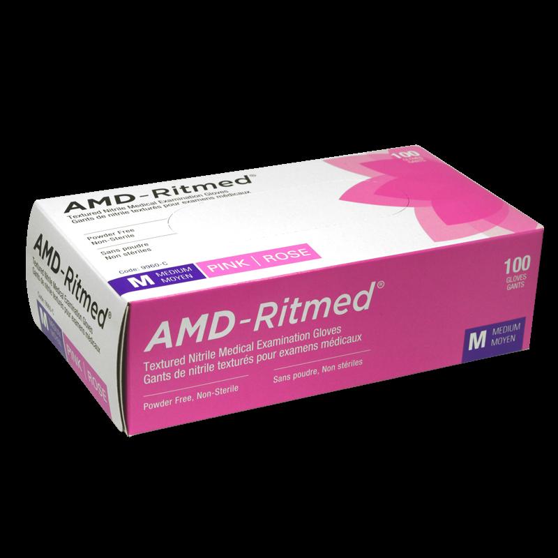 Gants Nitrile AMD-Ritmed Rose Sans Poudre Médium (100 gants)