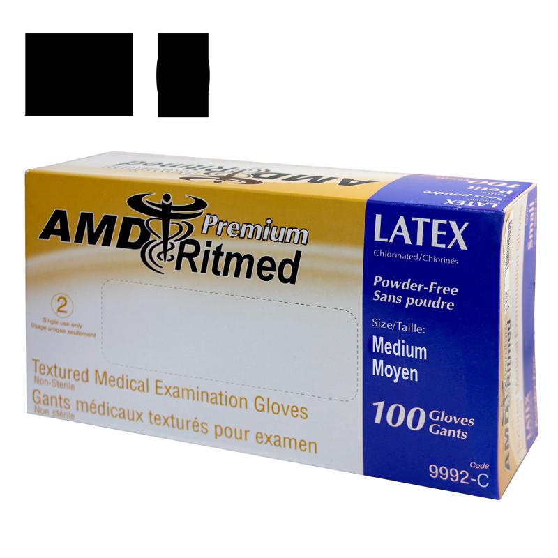 Gants Latex AMD Ritmed Sans Poudre Médium Caisse de 10 boites de 100 gants