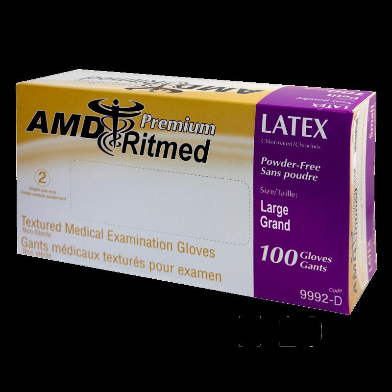 Gants Latex AMD Ritmed Sans Poudre Large (boite100) (Caisse)