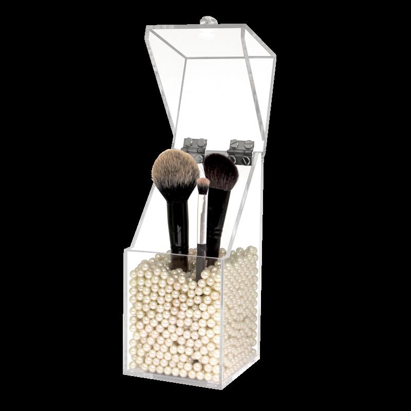 Boite à Pinceau en Acrylique avec Perles Blanches 10x10x21cm
