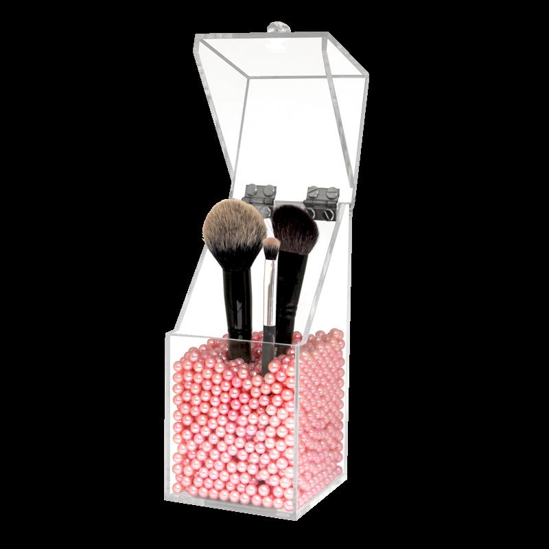 Boite à Pinceau en Acrylique avec Perles Roses 10x10x21cm