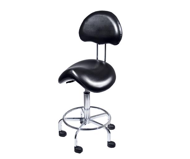 Chaise d'Esthétique Style Selle Ajustable Hydraulique Noire