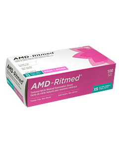 AMD-Ritmed Pink Nitrile Gloves - Powder Free XS (100 gloves)