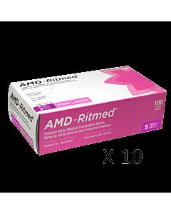 Gants Nitrile AMD-Ritmed Rose Sans Poudre Small (10 boites)