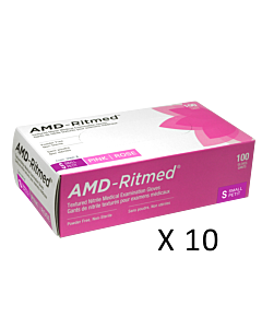 AMD-Ritmed Pink Nitrile Gloves - Powder Free S (10 boxes)