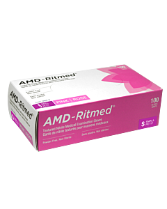 AMD-Ritmed Pink Nitrile Gloves - Powder Free S (100 gloves)