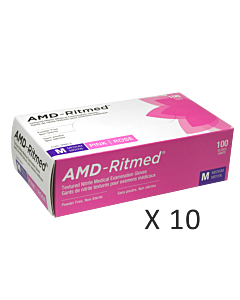 AMD-Ritmed Pink Nitrile Gloves - Powder Free M (10 boxes)