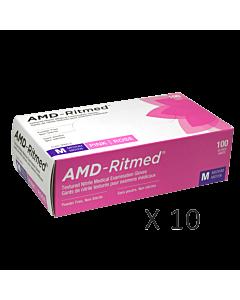 Gants Nitrile AMD-Ritmed Rose Sans Poudre Moyen (10 boites)