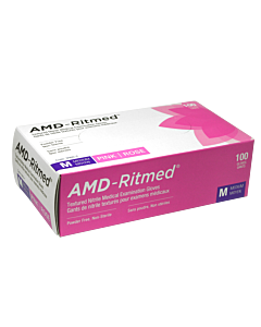 AMD-Ritmed Pink Nitrile Gloves - Powder Free Medium  (100 gloves)