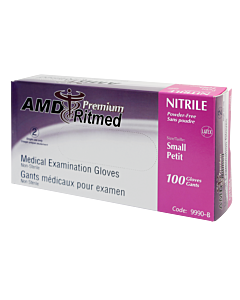 Textured powder free purple nitrile gloves, small.