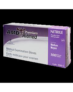 Textured powder free purple nitrile gloves, medium