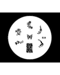 Plaquette pour Stamping B28 - Fleurs Papillon
