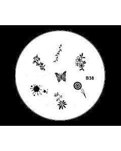 Plaquette pour Stamping B38 - Fleurs - Papillons