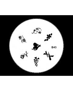 Plaquette pour Stamping B43 - Fleurs et coeurs