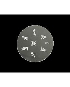 plaque stamping dauphin, papillon, rose B79