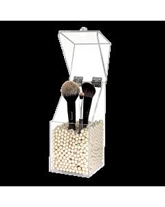 Boite à Pinceau en Acrylique avec Perles Blanches