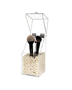 Dust Proof Acrylic Brush Holder with White Pearls