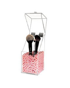Dust Proof Acrylic Brush Holder with Pink Pearls