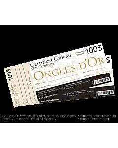 certificat cadeaux ongles 100$