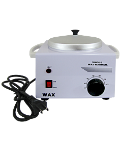 Single White Metal Wax Heater with Lid 600cc 110 Volts