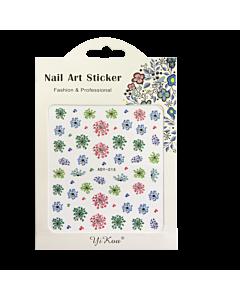 3-D Nail Sticker model Flower ADY-015 Pink/Green/Blue (Super