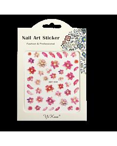 3-D Nail Sticker model Flower ADY-030 Pink/Orange