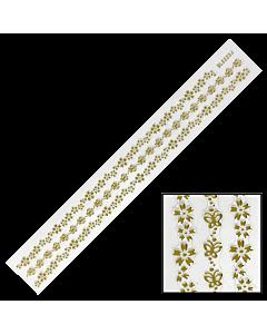 Décalques 3-D modèle Bande de Fleurs et Papillons Or BLE223J