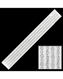 Décalques 3-D modèle Bande de Fleurs Argent BLE226J
