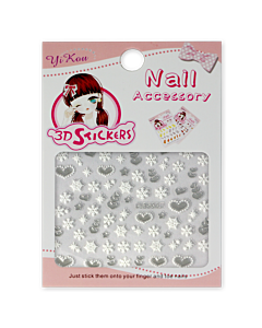 3-D Nail Sticker model Hearts and Snowflakes BLE254J