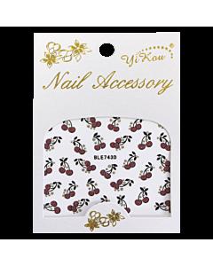 3-D Nail Sticker model Cherries Red/Gold BLE728D