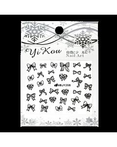 3-D Nail Sticker model black bows