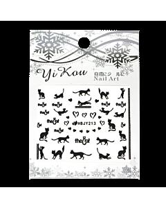 3-D Nail Sticker model black cats