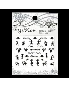 3-D Nail Sticker model black cats HBJY216