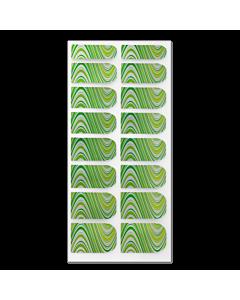 Décalque Métallisé Intégral Courbes Vert/Jaune/Argent #106