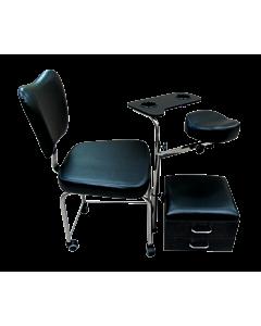 Chaise de Pédicure avec Appui-Pied, Plateau, Tiroirs, Noir