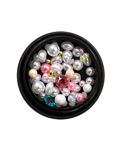 Nail Art Kit 03 - White, Pink and Gold Pearls