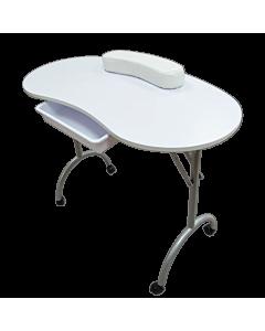 Table de Manucure Blanche Pliable avec Sac de Transport