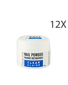 clear powder nails 12 units