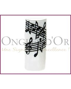 Decorative Nail Tips Half Well Musical Notes Black/White (70) (P