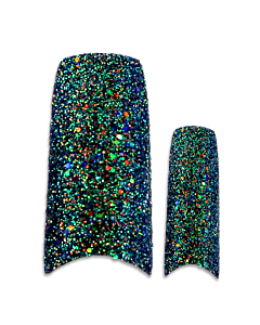 Prothèse Française Glitter Noire (100 pcs) - du dessus
