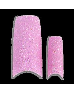 Prothèse Française Glitter rose (100 pcs) - du dessus