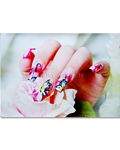 Poster Ongles Nail art Papillon et Fleur 60 x 90 cm