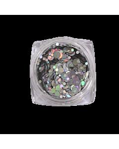 Nail Art Glitter Circles - Holographic Silver